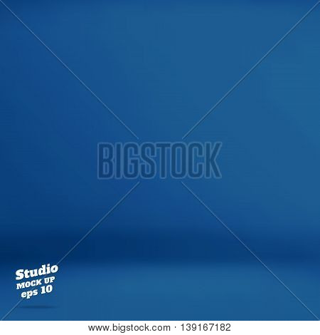 Vector :empty Navy Blue Studio Room Background ,template Mock Up For Display Of Product,business Bac