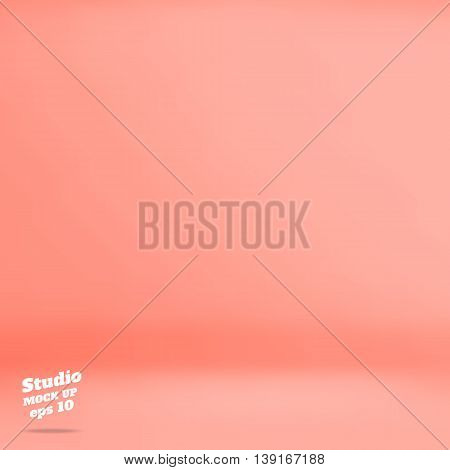 Vector :empty Pastel Peach Studio Room Background ,template Mock Up For Display Of Product,business