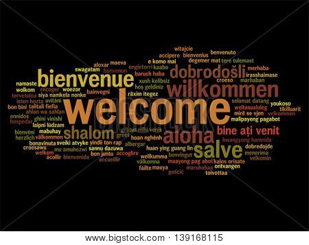 Vector concept or conceptual abstract welcome or greeting international word cloud in different languages or multilingual