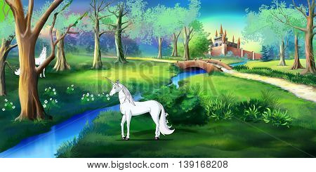 White Unicorn in a magic forest near a fairy tale castle. Digital painting cartoon style full color illustration.