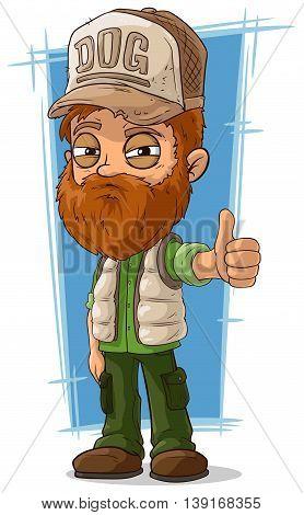A vector illustration of cartoon bearded trucker in cap