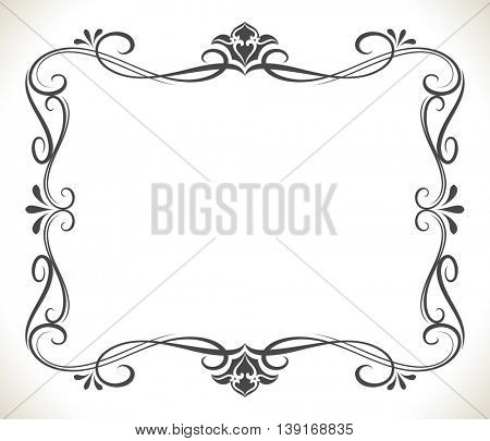Black and white floral frame with copy space vector background. Beautiful greeting card or invitation template.