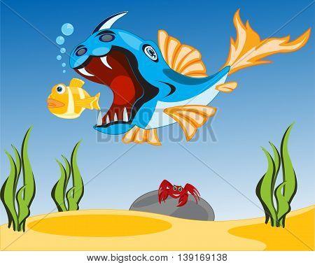 Big fish crock sails for small.Vector illustration