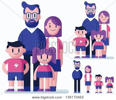 Flat design of family over white background in 3 versions.