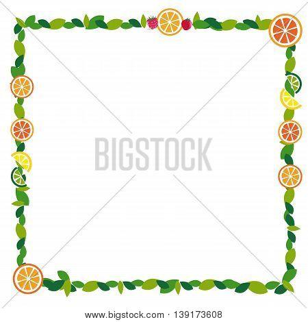 eaf frame with fruit orange lemon juice vector