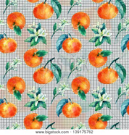 Watercolor mandarine orange fruit with leaves and blossom seamless pattern on white background. Orange citrus tree. Mandarin bloom. Tangerine leaf flower in retro style. Hand painted illustration