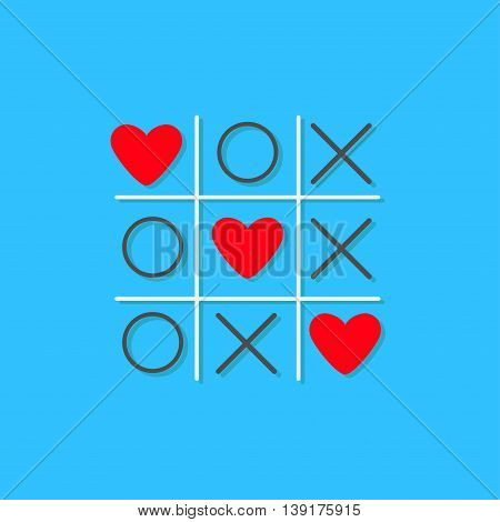 Tic tac toe game with cross and three red heart sign mark Love card Flat design Blue background Vector illustration