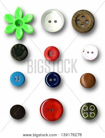 Image of buttons series on white background