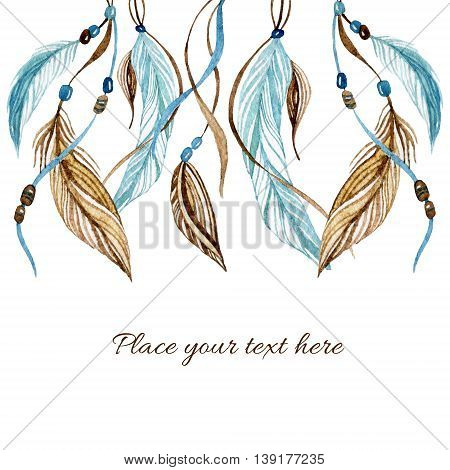 Watercolor card with ethnic feathers. Hand painted illustration in native style.