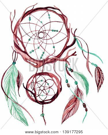 Watercolor ethnic dreamcatcher. Hand painted illustration for your design