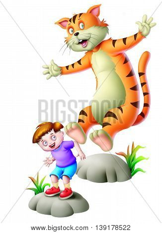 A boy and a cat jumping on the rock