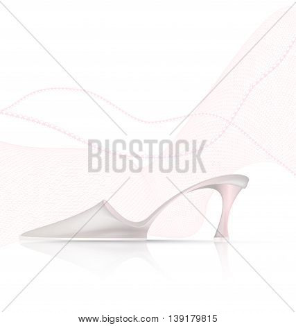white background and the light ladys shoe with beads and veil