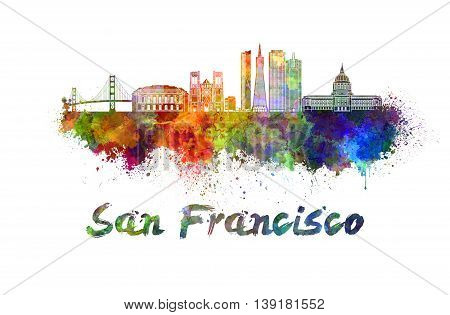 San Francisco skyline in watercolor splatters with clipping path