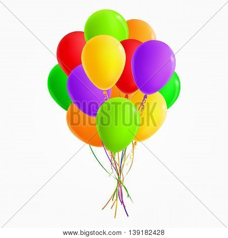 Realistic colored bunch of balloons (green, yellow, orange, red, purple). For Party and Celebrations. Isolated from the background. File contains gradient mesh.