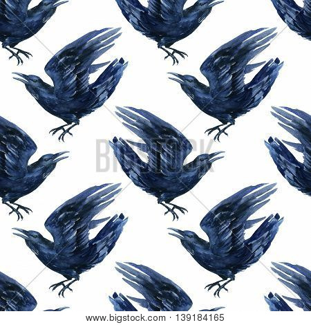 Raven watercolor illustration. Flying black raven seamless pattern.