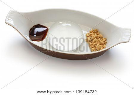 water cake, raindrop cake, mizu shingen mochi, homemade japanese summer dessert isolated on white background poster