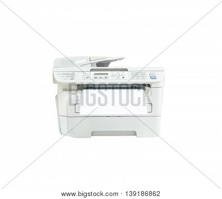 Closeup old white photocopier in the office with white paper office supplies concept isolated on white background