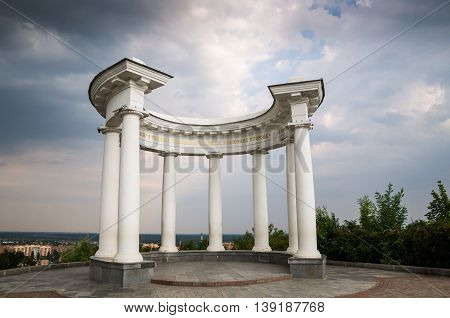 White arbour erected in 1909 in honor of the 200th anniversary of the Battle of Poltava - the confrontation between the forces of Peter the Great and Charles XII of Sweden.