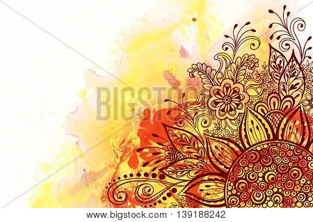 Calligraphic Vintage Pattern, Symbolic Flowers and Leafs, Abstract Floral Outline Ornament, Brown Contours on Colorful Hand-Draw Watercolor Painting Background