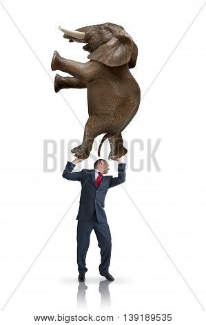 business balance challenge concept businessman holding weight of elephant above his head