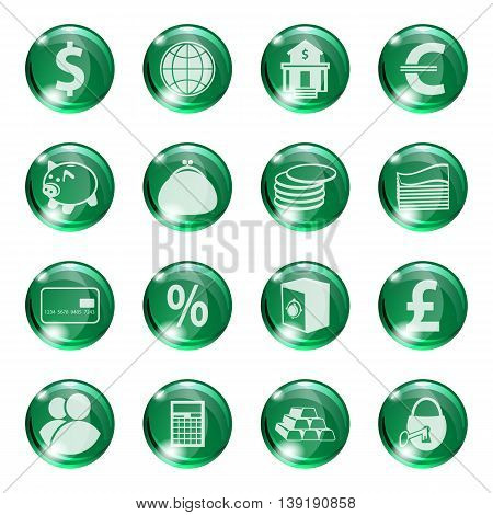 Set of icons of green color on a subject bank. Business and Finance. Grouped for easy editing. Vector images.