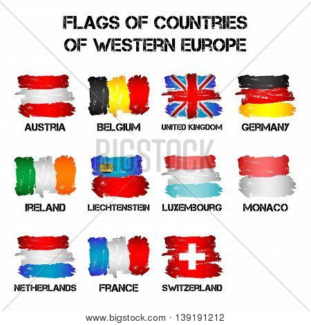 Set of flags of Western Europe countries from brush strokes in grunge style isolated on white background. Ensigns of 11 Western Europe member states. Vector illustration