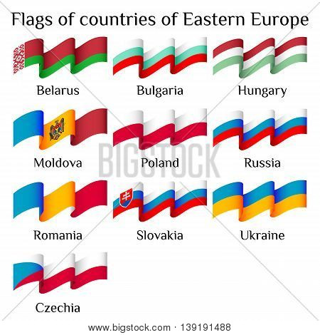 Set of flying flags of Eastern Europe countries in waves isolated on white background. Ensigns of 11 Eastern Europe member states. Vector illustration