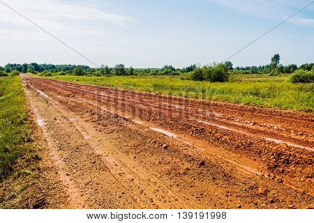 Dirt impassable road in the field a summer day