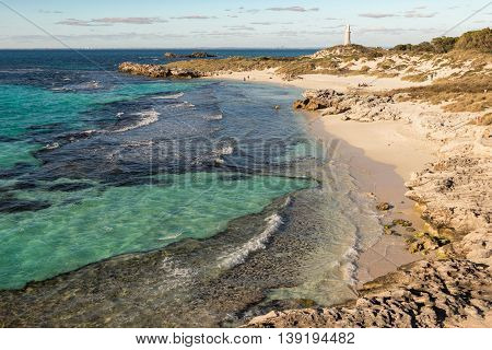 Rottnest Island coastal landscape with The Basin in the foreground, Pinky Beach and Bathurst Lighthouse. The island is situated near Perth and Fremantle in Western Australia. HDR image.