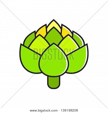 Illustration of fresh green artichoke. Vegetable, healthy food, greengrocery. Food concept. Can be used for topics like healthy food, vegetables, greengrocery