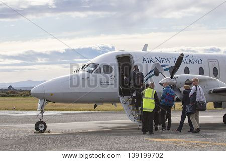 HOKITIKA NEWE ZEALAND-SEPTEMBER 3 : air new zealand plane preparing to departure from hokitika airport in south island new zealand on september 3 2015 in hokitika airport west coast New Zealand