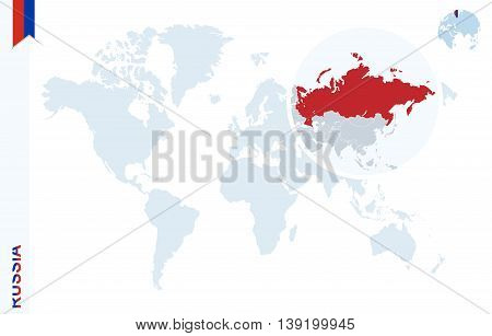 Blue World Map With Magnifying On Russia.