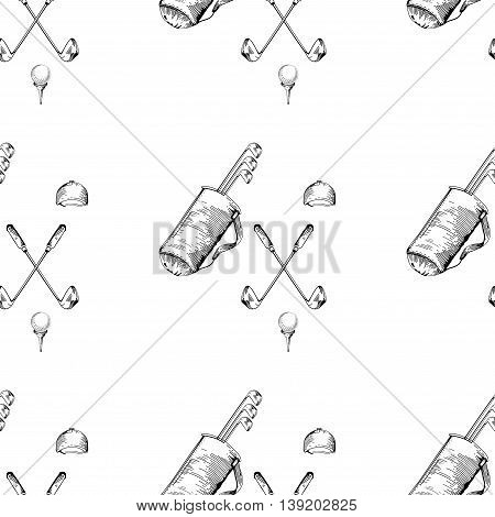 Vector seamless pattern. Pattern with golf elements background. Golf - seamless background. Background for use in design web packing textile. golf clubs ball bag