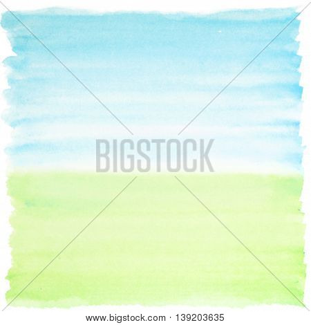 Square watercolor background blue and green colors