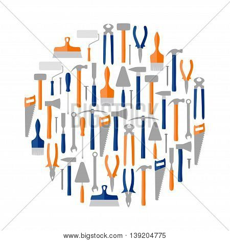 Circle of construction and reapir tools, vector illustration