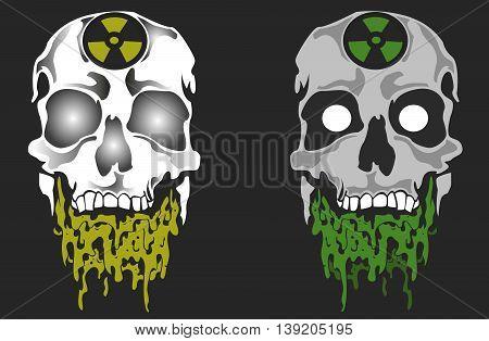 Vector illustration of skull danger toxic face
