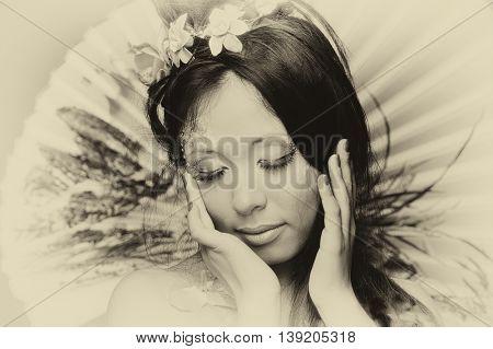 Asian woman with fun