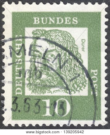 MOSCOW RUSSIA - JANUARY 2016: a post stamp printed in GERMANY shows a portrait of Albrecht Durer the series