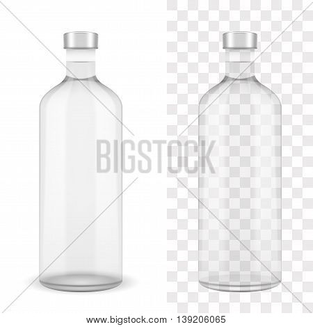 Absolut clear vodka bottle on white and transparent vector EPS10