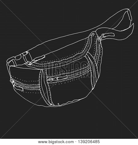 Waist pouch isolated on black background. Belt bag vector isolated on black background. Money bag illustration. Waist pouch vector. Travel bag. hipster bag