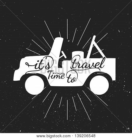 Black and white motivational posters. Vintage style car with calligraphy. car shape. Inspirational typography. Hand drawn typography poster