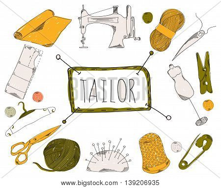 Colourful childrens illustration with a pencil. The collection of linear hand drawn icons. Icons the tools of the weaver and seamstress. Vector illustration