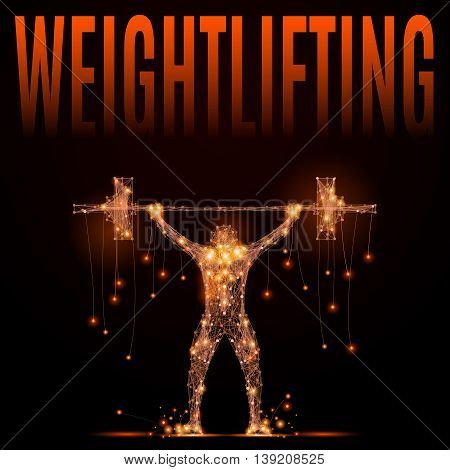 Weightlifter raises the bar over your head in motion. Jolt or jerk weightlifting projectile. Element circuit training. Abstract silhouette of glowing lines and points. Vector illustration on black
