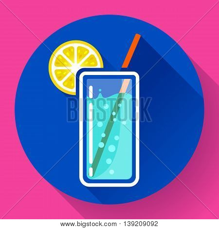 glass of water with lemon icon flat 2.0 design style long shadow.
