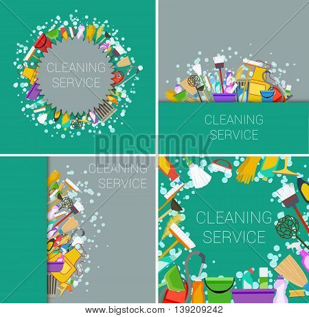 set of green and grey flat cleaning service backgrounds. vector