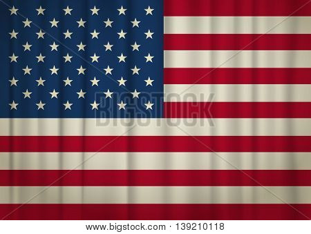 Old weathered realistic USA flag. vector illustration