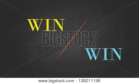 win win solution concept written on the text with blackboard and chalk effect vector graphic illustration