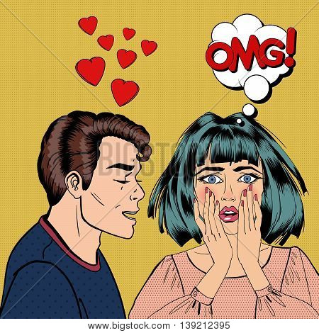 Man Confesses His Love to his Shocked Girlfriend. Pop Art. Vector illustration