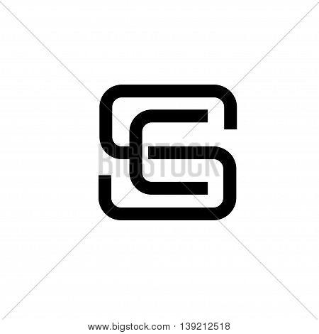 letter S, SC, SE letter CS flat modern  black color logo design