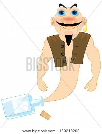 The Cartoon of the fairy-tale genie released from bottle.Vector illustration